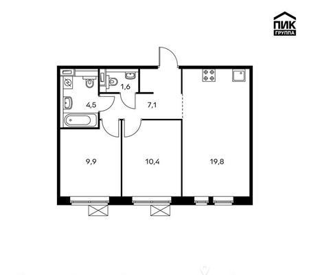2-комн квартира, 53.3 м2, 2 этаж - фото 1