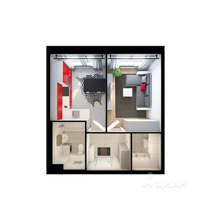 1-комнатная квартира, 33.8 м<sup>2</sup>, 16 этаж_1
