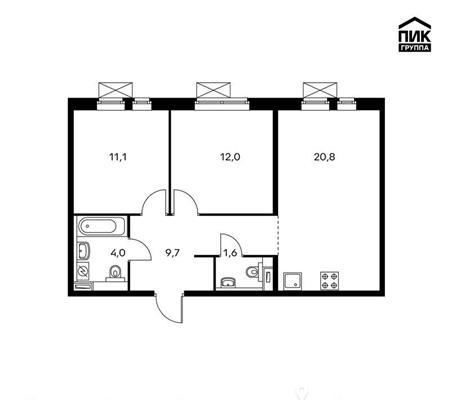 2-комн квартира, 59.2 м<sup>2</sup>, 6 этаж_1