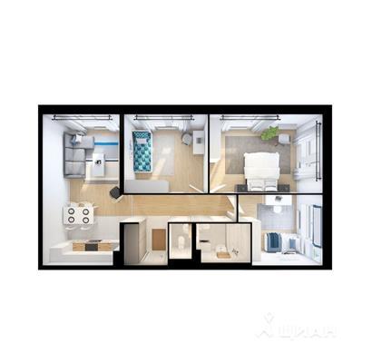 3-комн квартира, 78.5 м2, 8 этаж - фото 1