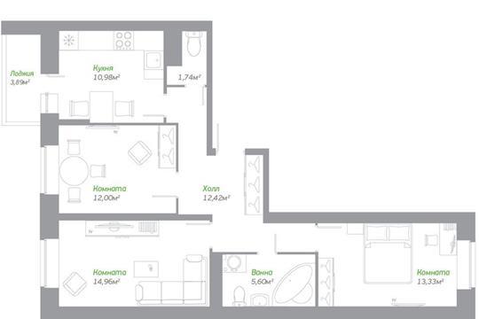 3-комнатная квартира, 72.98 м<sup>2</sup>, 13 этаж