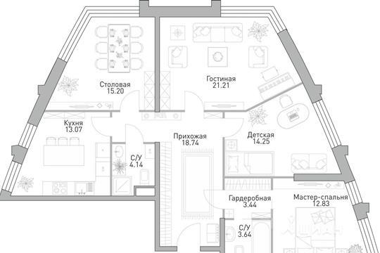 4-комнатная квартира, 106.52 м<sup>2</sup>, 27 этаж_1