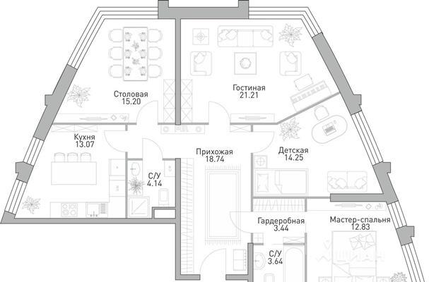 4-комн квартира, 106.52 м<sup>2</sup>, 27 этаж_1