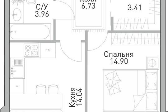 1-комнатная квартира, 43.04 м<sup>2</sup>, 18 этаж_1