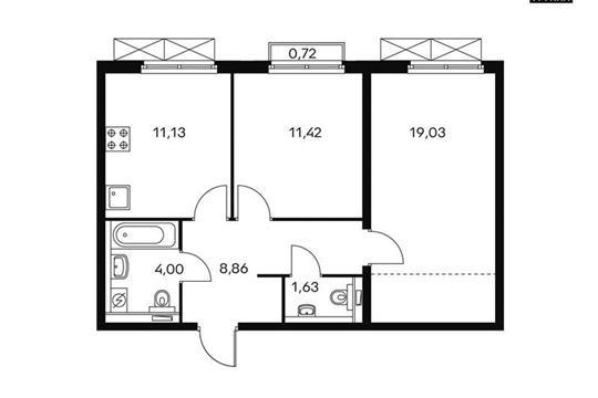 2-комн квартира, 56.2 м<sup>2</sup>, 16 этаж_1
