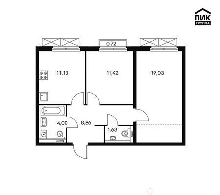 2-комн квартира, 56.2 м2, 16 этаж - фото 1