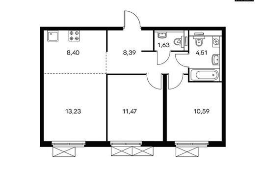 3-комн квартира, 58.2 м<sup>2</sup>, 8 этаж_1