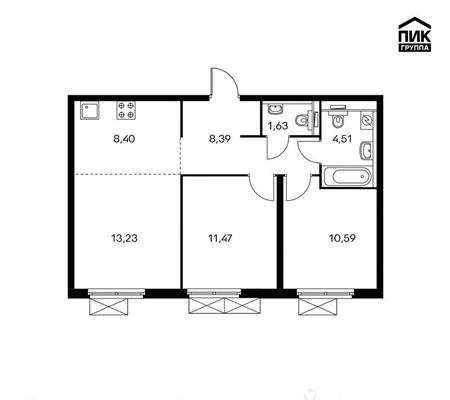 3-комн квартира, 58.2 м2, 8 этаж - фото 1