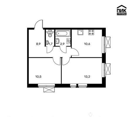 2-комн квартира, 47.8 м2, 16 этаж - фото 1