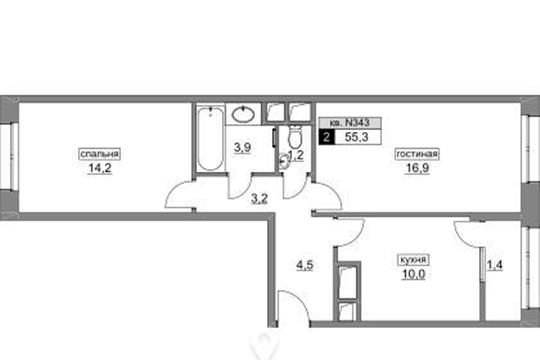 2-комнатная квартира, 55.3 м<sup>2</sup>, 2 этаж_1