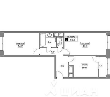 2-комн квартира, 55.3 м<sup>2</sup>, 2 этаж_1