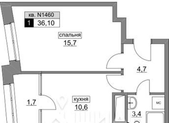 1-комнатная квартира, 36.1 м<sup>2</sup>, 15 этаж_1