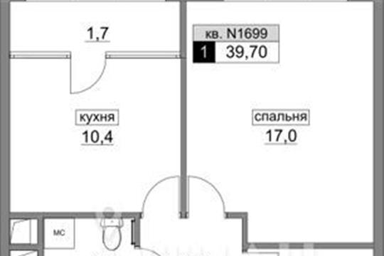 1-комн квартира, 39.7 м<sup>2</sup>, 15 этаж_1