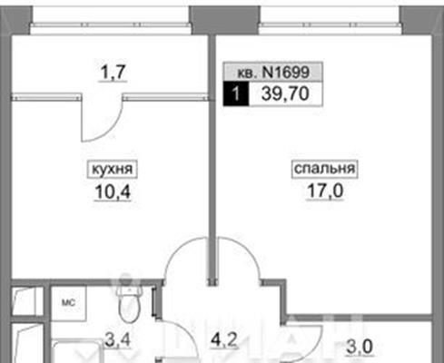 1-комнатная квартира, 39.7 м<sup>2</sup>, 15 этаж_1