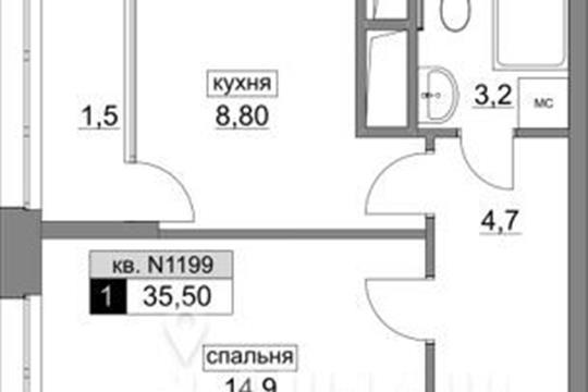 1-комнатная квартира, 35.5 м<sup>2</sup>, 10 этаж_1
