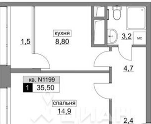 1-комн квартира, 35.5 м2, 10 этаж - фото 1