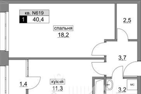 1-комн квартира, 40.4 м<sup>2</sup>, 8 этаж_1