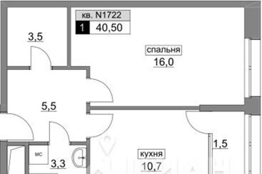 1-комнатная квартира, 40.5 м<sup>2</sup>, 5 этаж_1