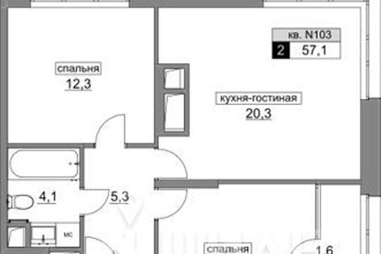 2-комнатная квартира, 57.1 м<sup>2</sup>, 6 этаж_1