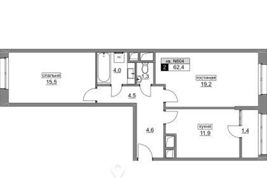 2-комнатная квартира, 62.3 м<sup>2</sup>, 4 этаж_1