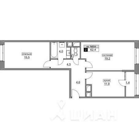 2-комн квартира, 62.3 м<sup>2</sup>, 4 этаж_1