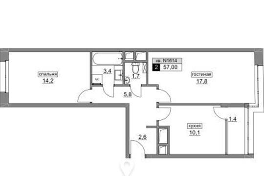 2-комн квартира, 57 м<sup>2</sup>, 13 этаж_1