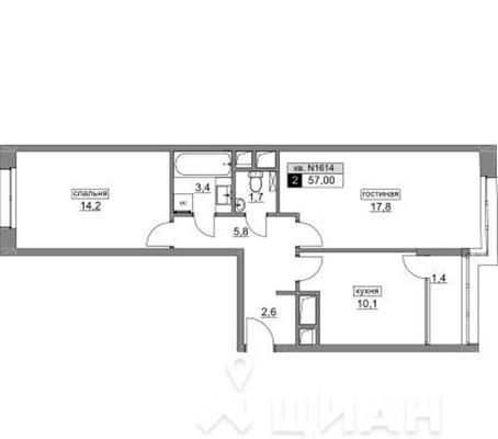 2-комн квартира, 57 м2, 13 этаж - фото 1