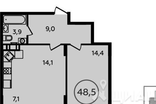 2-комн квартира, 48.5 м<sup>2</sup>, 2 этаж_1