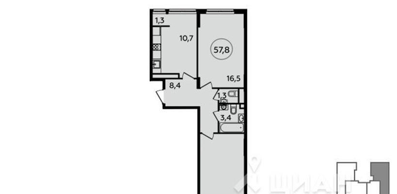 2-комн квартира, 57.8 м2, 14 этаж - фото 1
