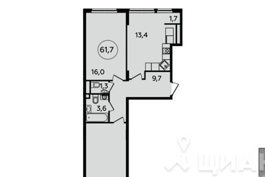 2-комн квартира, 61.7 м<sup>2</sup>, 9 этаж_1