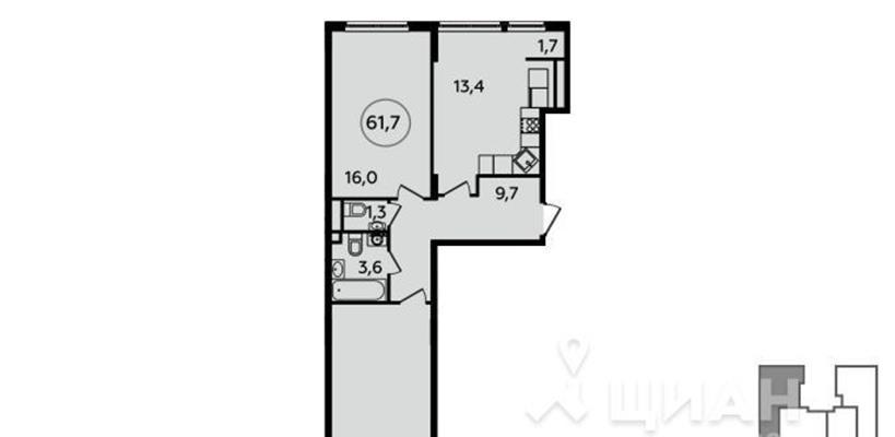 2-комн квартира, 61.7 м2, 9 этаж - фото 1