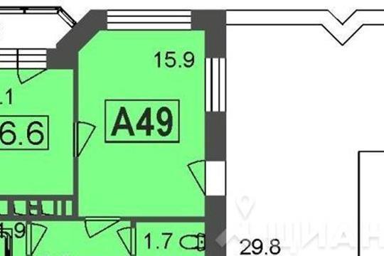 1-комнатная квартира, 66.6 м<sup>2</sup>, 7 этаж_1