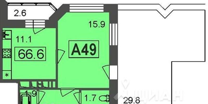 1-комн квартира, 66.6 м2, 7 этаж - фото 1