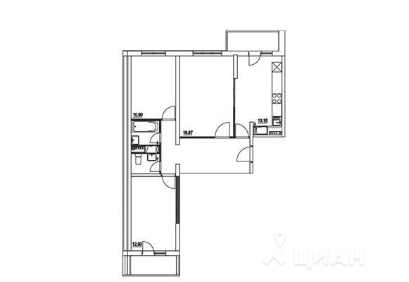 3-комнатная квартира, 75.51 м<sup>2</sup>, 2 этаж_1