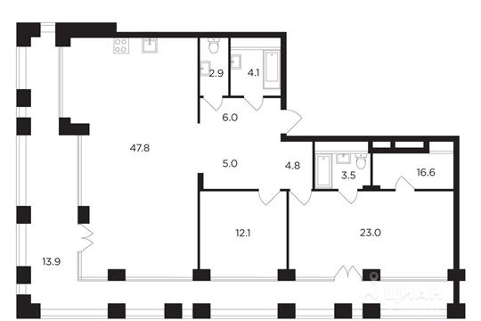 2-комнатная квартира, 128.25 м<sup>2</sup>, 18 этаж
