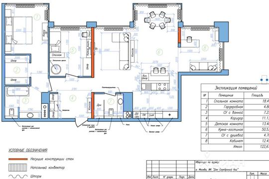 2-комнатная квартира, 122.67 м<sup>2</sup>, 8 этаж