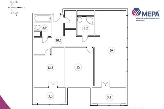 2-комнатная квартира, 87.77 м<sup>2</sup>, 5 этаж