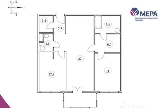 2-комнатная квартира, 80.05 м<sup>2</sup>, 6 этаж