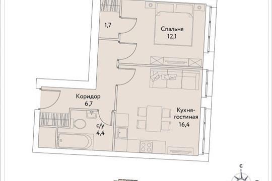 1-комн квартира, 41.3 м<sup>2</sup>, 34 этаж_1