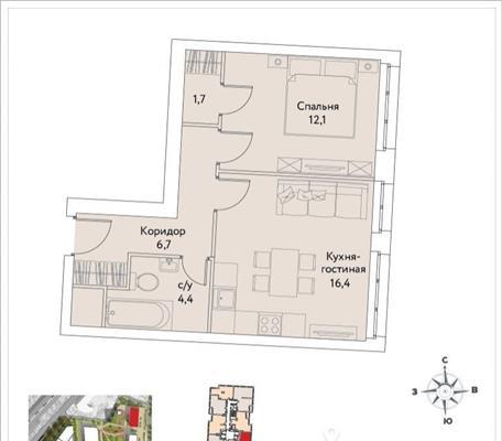 1-комнатная квартира, 41.3 м<sup>2</sup>, 34 этаж_1