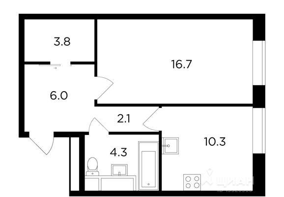 1-комнатная квартира, 43.08 м<sup>2</sup>, 12 этаж_1