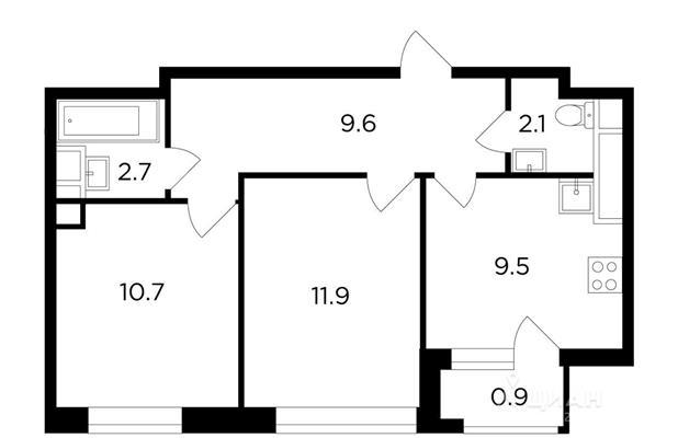 2-комн квартира, 47.21 м<sup>2</sup>, 8 этаж_1