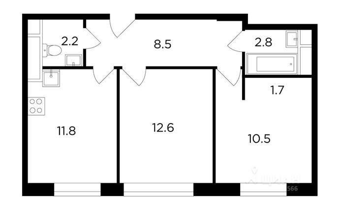 2-комнатная квартира, 50.25 м<sup>2</sup>, 9 этаж_1