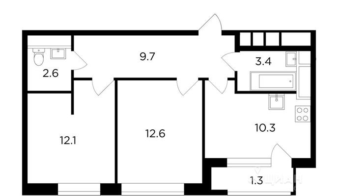 2-комнатная квартира, 52.01 м<sup>2</sup>, 6 этаж_1