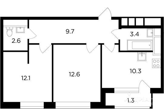 2-комнатная квартира, 52.01 м<sup>2</sup>, 10 этаж_1