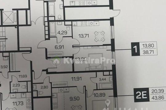 1-комн квартира, 43.86 м<sup>2</sup>, 1 этаж_1