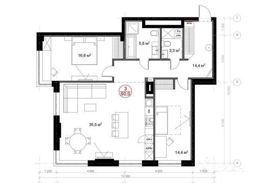 3-комн квартира, 90 м<sup>2</sup>, 20 этаж_1