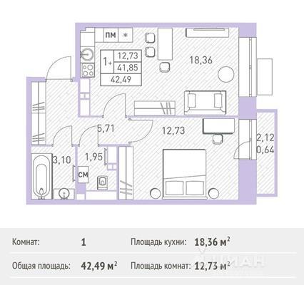 1-комнатная квартира, 42.49 м<sup>2</sup>, 15 этаж_1