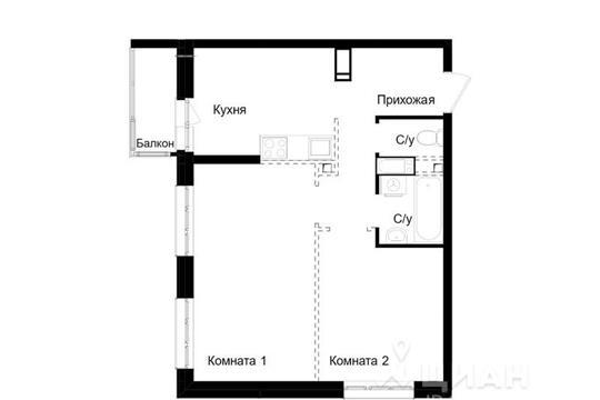 2-комн квартира, 46 м<sup>2</sup>, 16 этаж_1