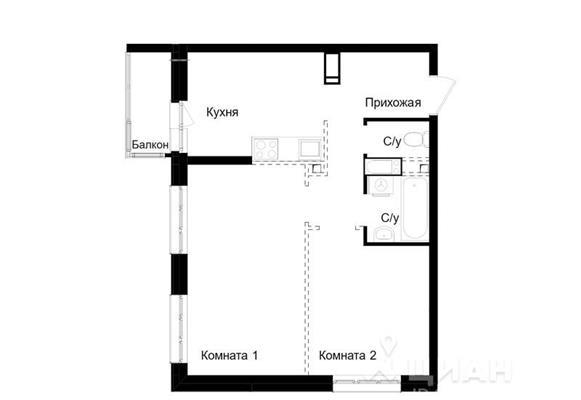 2-комн квартира, 46 м2, 16 этаж - фото 1